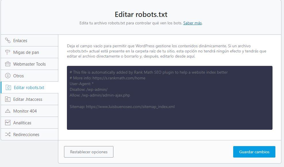 rankmathseo editar robots.txt