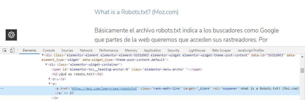 encontrar enlace interno en código