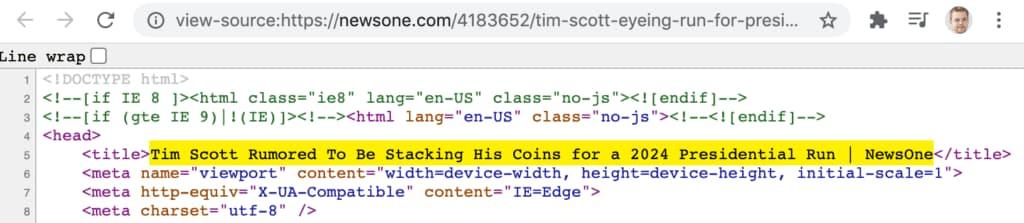 newsone.com incluye etiqueta title en su código