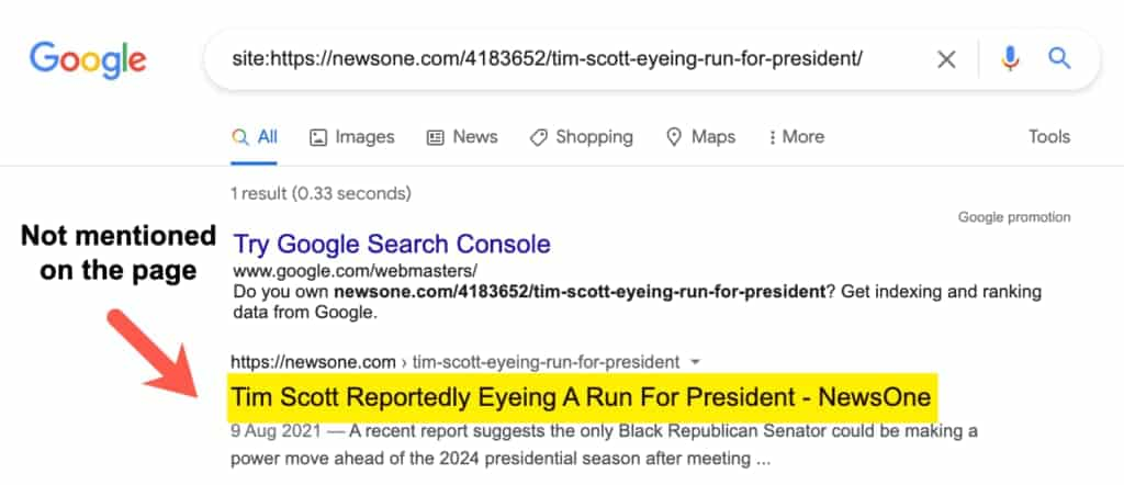 Google muestra título de un elemento fuera del código de la página